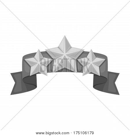 Red ribbon with three stars.Reward a police officer for detention of the criminal.Awards and trophies single icon in monochrome style vector symbol stock web illustration.