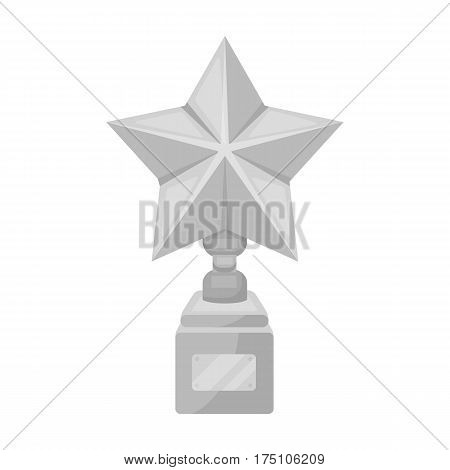 Gold prize in the shape of a star on a stand.The statue in the first place.Awards and trophies single icon in monochrome style vector symbol stock web illustration.