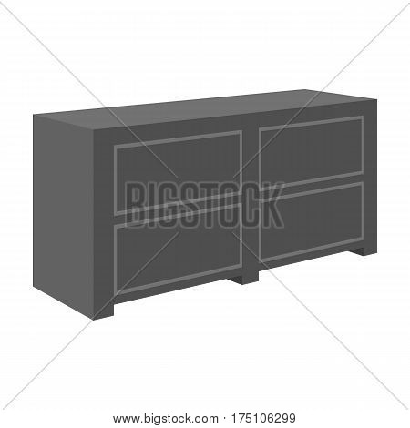 Brown bedside table with drawers.Nightstand next to the bed.Bedroom furniture single icon in monochrome style vector symbol stock web illustration.