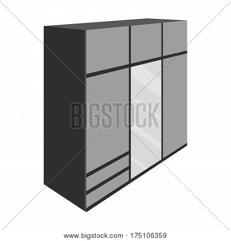 A large bedroom wardrobe with mirrow and lots of drawers and cells.Bedroom furniture single icon in monochrome style vector symbol stock web illustration.