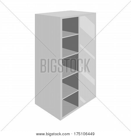 Light Cabinet with bins and mirror.Wardrobe for women's clothing.Bedroom furniture single icon in monochrome style vector symbol stock web illustration.