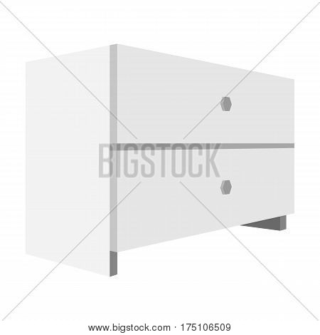 White bedside table with two drawers.Room accessories for all sorts of things.Bedroom furniture single icon in monochrome style vector symbol stock web illustration.