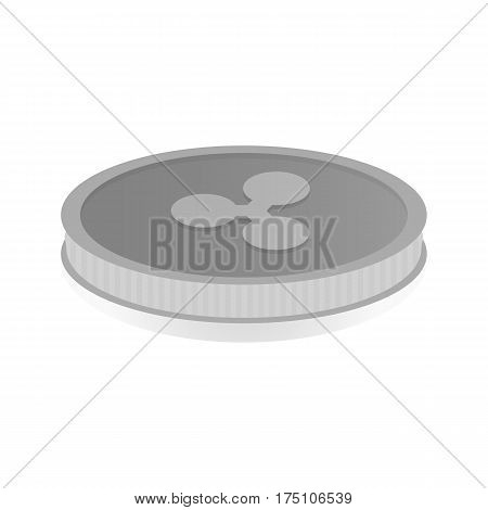 Vector illustration of a gold coin with the symbol cryptocurrency Ripple