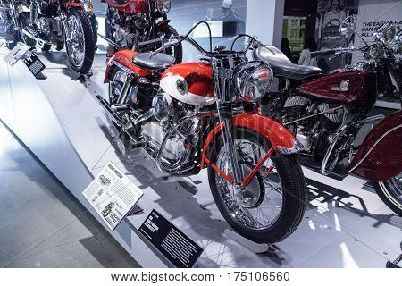 Los Angeles CA USA - March 4 2017: Red and white 1958 Harley-Davidson XLH Sportster motorcycle from the collection of Loren Carpenter at the Petersen Automotive Museum in Los Angeles California United States. Editorial only.