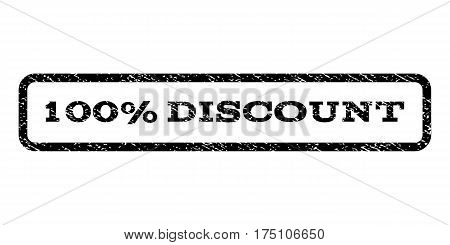 100 Percent Discount watermark stamp. Text tag inside rounded rectangle with grunge design style. Rubber seal stamp with scratched texture. Vector black ink imprint on a white background.