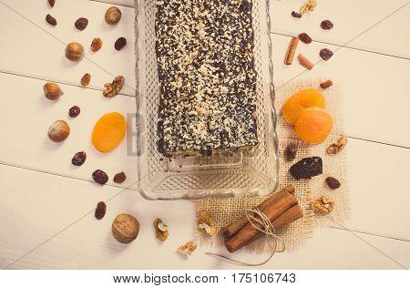 Vintage Photo, Fresh Baked Fruitcake With Ingredients On Boards