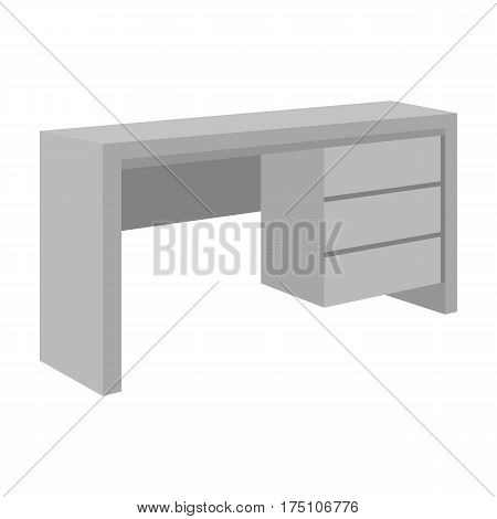 A small table for writing.Wooden table on legs with drawers.Bedroom furniture single icon in monochrome style vector symbol stock web illustration.