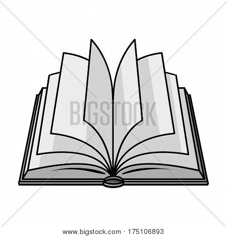 Opened book icon in monochrome design isolated on white background. Books symbol stock vector illustration.