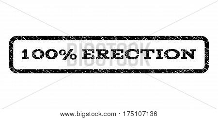 100 Percent Erection watermark stamp. Text tag inside rounded rectangle frame with grunge design style. Rubber seal stamp with dust texture. Vector black ink imprint on a white background.