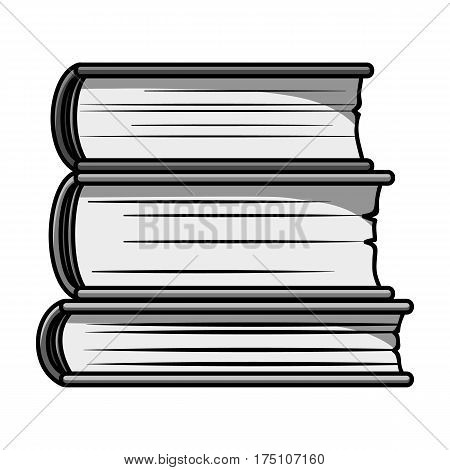 Stack of books icon in monochrome design isolated on white background. Books symbol stock vector illustration.