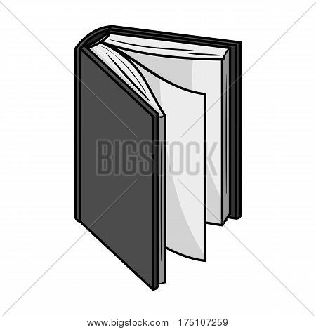 Black standing book icon in monochrome design isolated on white background. Books symbol stock vector illustration.