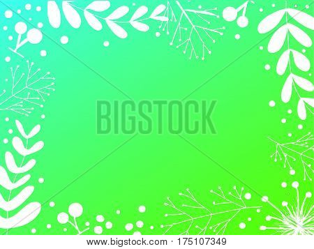 White branch , leaves and cherry green gradation background ,vector