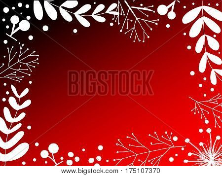 White branch , leaves and cherry redlet gradation background ,vector