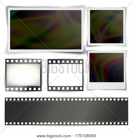 Instant Photo Frame Vector. Photorealistic Collection Of Isolated Photo Strip And Instant Photo Frames Blank Isolated On White
