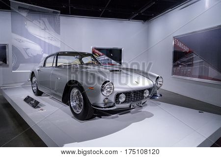 Los Angeles CA USA - March 4 2017: Silver 1962 Ferrari 250 GT SWB from the collection of Ron Hein at the Petersen Automotive Museum in Los Angeles California United States. Editorial only.