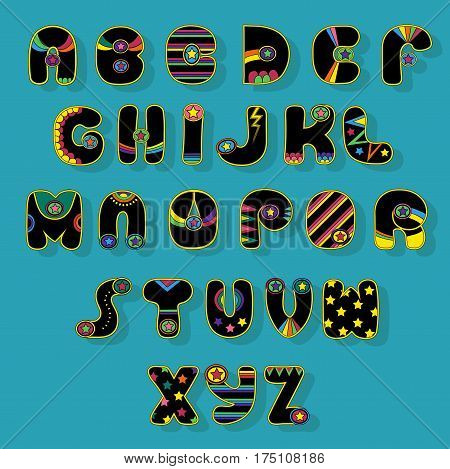 Black Alphabet. Superhero style. Cartoon letters with bright colorful decor elements. Vector illustration