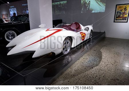 Los Angeles CA USA - March 4 2017: White 1999 Mach 5 Speed Racer prototype at the Petersen Automotive Museum in Los Angeles California United States. Editorial only.