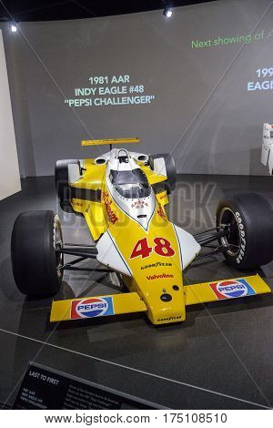 Los Angeles CA USA - March 4 2017: Yellow 1981 AAR Indy Eagle number 48 at the Petersen Automotive Museum in Los Angeles California United States. Editorial only.