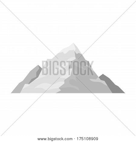 Ice mountain covered with snow.A mountain for skiing.Different mountains single icon in monochrome style vector symbol stock web illustration.