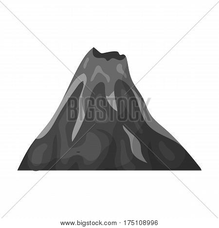A fiery volcano.A mountain in which there is a volcanic eruption.Different mountains single icon in monochrome style vector symbol stock web illustration.