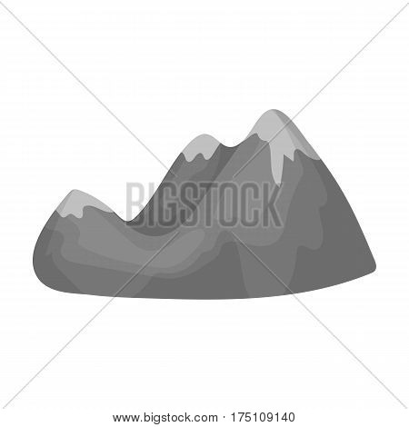 Green mountains.Mountain range covered with dense forest.Different mountains single icon in monochrome style vector symbol stock web illustration.