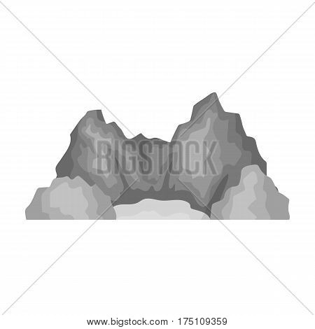 Blue mountain, under which flows the river.Different mountains single icon in monochrome style vector symbol stock web illustration.