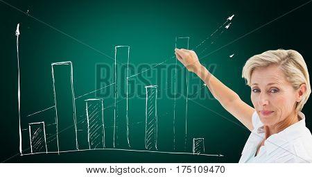 Digital generated image of female executive pointing towards upward graph