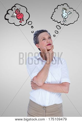 Digital composite image of thoughtful woman standing between the good and bad conscience
