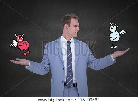 Digital generated image of businessman standing between the good and bad conscience