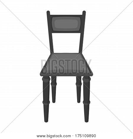 Wooden chair icon in monochrome design isolated on white background. Library and bookstore symbol stock vector illustration.