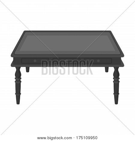 Wooden table icon in monochrome design isolated on white background. Library and bookstore symbol stock vector illustration.