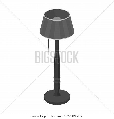 Wooden floor lamp icon in monochrome design isolated on white background. Library and bookstore symbol stock vector illustration.