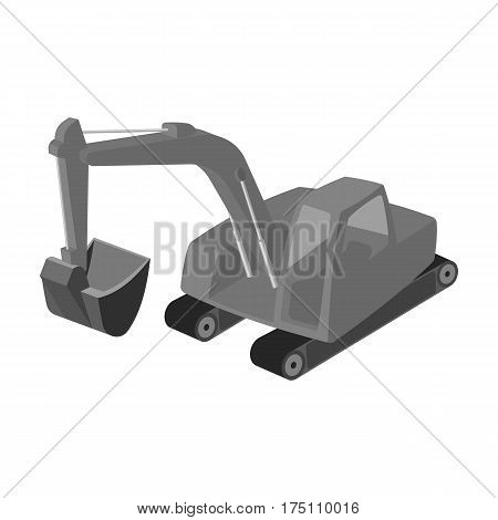Orange excavator with a bucket . Machine for mine.Mine Industry single icon in monochrome style vector symbol stock web illustration.