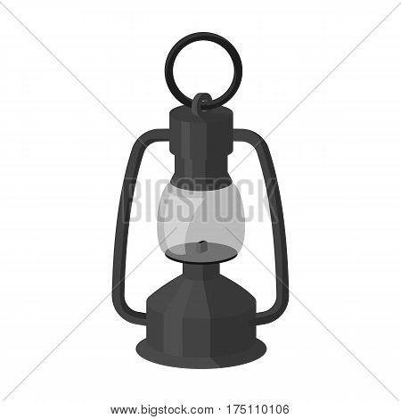 A gas lamp.The lighting device of miners.Mine Industry single icon in monochrome style vector symbol stock web illustration.