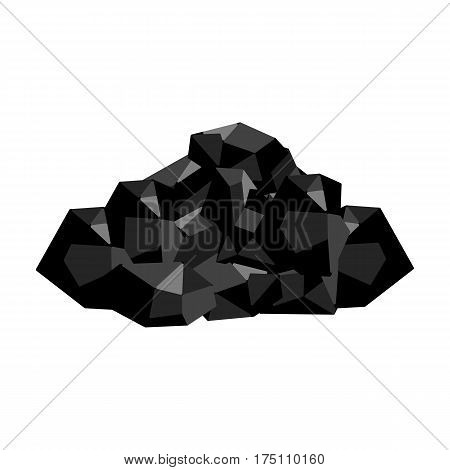 Black minerals from the mine.Coal, which is mined in the mine.Mine Industry single icon in monochrome style vector symbol stock web illustration.