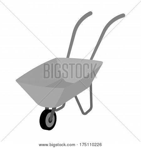 Green cart with wheel and handles. The means of transportation of small cargoes on the territory of the mines.Mine Industry single icon in monochrome style vector symbol stock web illustration.