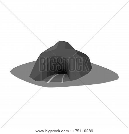 The entrance to the mine covered with grass. The place where the mine cars fall.Mine Industry single icon in monochrome style vector symbol stock web illustration.