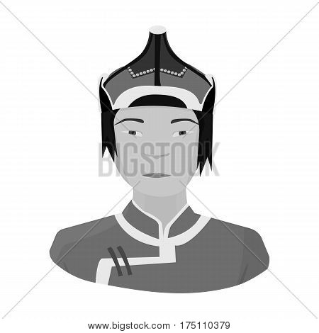 The Mongols in the helmet.Mongolian national protection.Mongolia single icon in monochrome style vector symbol stock web illustration.