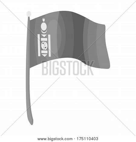 The tricolor on the stick.National flag of Mongolia.Mongolia single icon in monochrome style vector symbol stock web illustration.