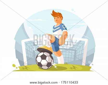 Cartoon character football player. Player with ball on green lawn. Vector illustration