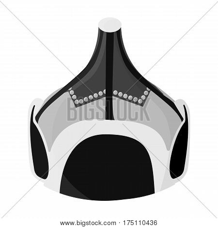 Mongolian military helmet.Colored metal helmet conical shape.Mongolia single icon in monochrome style vector symbol stock web illustration.