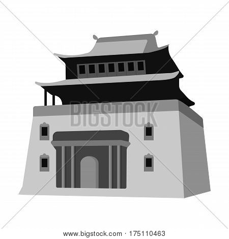 The three-storey building in Mongolia.Mongolian national Shrine of Mitarai.Mongolia single icon in monochrome style vector symbol stock web illustration.