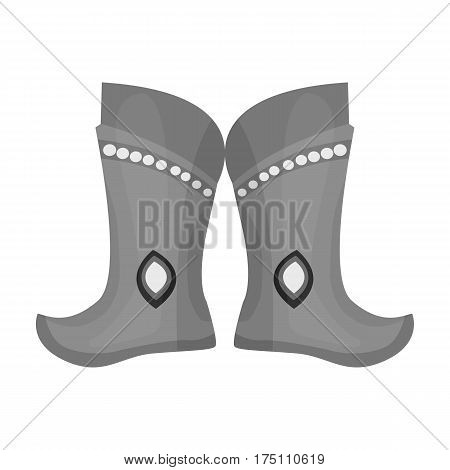 Military boots of the Mongols.part of the national dress of Mongolia.Mongolia single icon in monochrome style vector symbol stock web illustration.