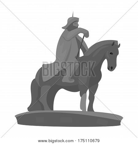 The monument to the military of Mongolia on horseback.The statue stands in Mongolia.Mongolia single icon in monochrome style vector symbol stock web illustration.