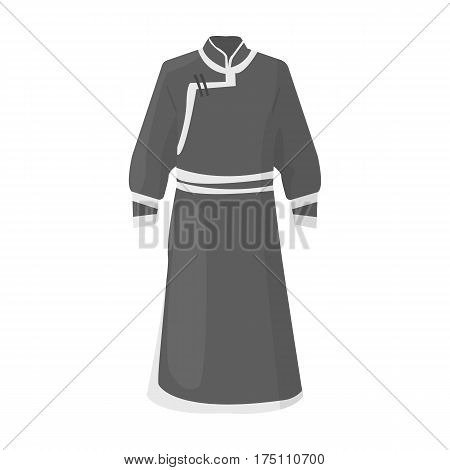 Blue Bathrobe of Mongolians.Fragment nominalnog clothes of Mongolia.Mongolia single icon in monochrome style vector symbol stock web illustration.