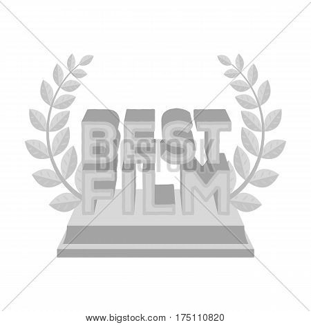 Golden statue with a wreath and inscription.The prize for best film.Movie awards single icon in monochrome style vector symbol stock web illustration.