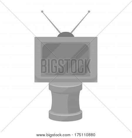 Bronze award in Famer of the TV with aerial.Trophy for best film.Movie awards single icon in monochrome style vector symbol stock web illustration.