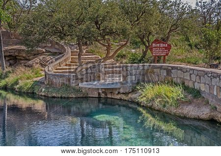 Curving steps leading to a diving platform at Blue Hole near Route 66 in Santa Rosa New Mexico