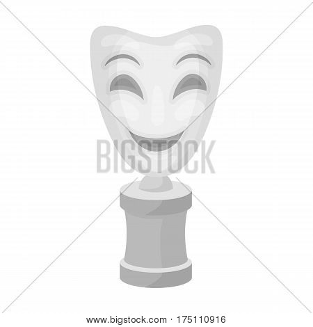 White mask MIME on the stand.The prize for best drama.Movie awards single icon in monochrome style vector symbol stock web illustration.