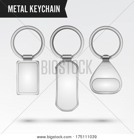 Realistic Template Metal Keychain Vector Set. 3d Key Chain With Ring For Key Isolated On White